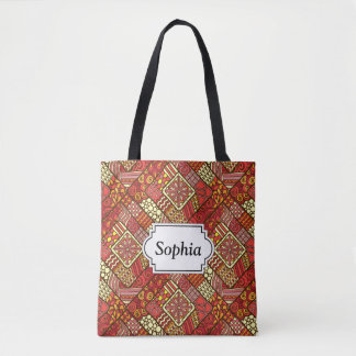 Red abstract tribal aztec pattern tote bag