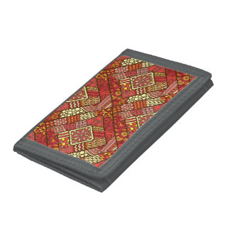 Red abstract tribal aztec pattern tri-fold wallet