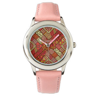 Red abstract tribal aztec pattern watch