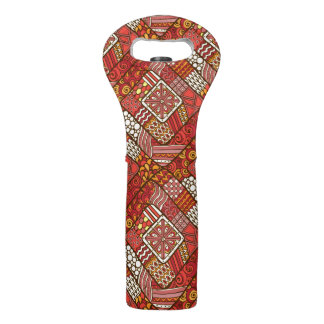 Red abstract tribal aztec pattern wine bag