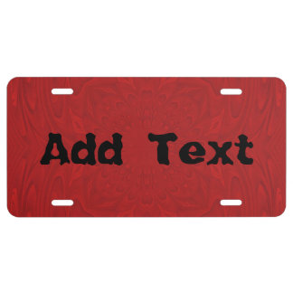 Red abstract wood pattern license plate