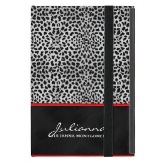 Red Accents and Silver Cheetah Print iPad Mini Cases