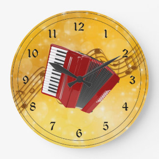 Red Accordion and Musical Notes Large Clock