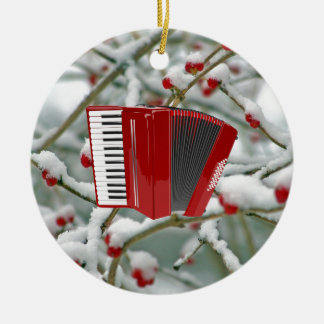 Red Accordion - Berries in the Snow Background Ceramic Ornament