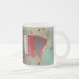 Red Accordion on Musical Notes Frosted Glass Coffee Mug