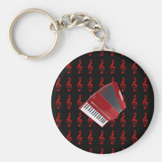 Red Accordion on Red Treble Clef Black Background Key Ring