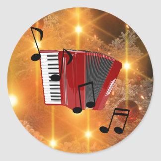 Red Accordion with Musical Notes Round Sticker