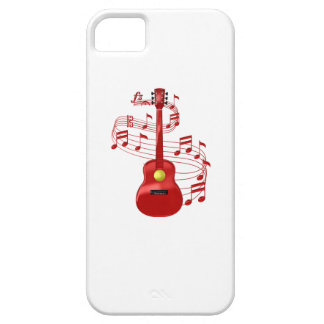 Red Acoustic Guitar With Music Notes Case For The iPhone 5