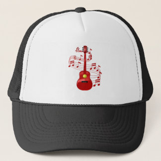 Red Acoustic Guitar With Music Notes Trucker Hat