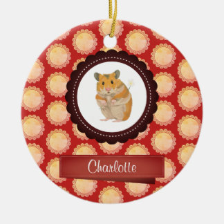 Red Add Your Name Hamster Ceramic Ornament
