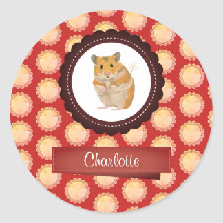 Red Add Your Name Hamster Classic Round Sticker