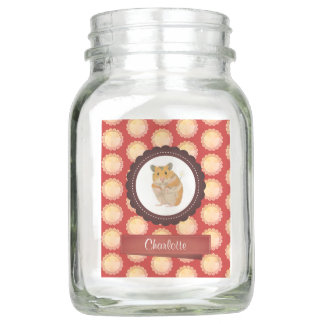 Red Add Your Name Hamster Mason Jar