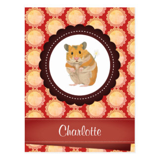 Red Add Your Name Hamster Postcard