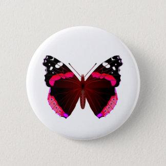 Red admiral 6 cm round badge
