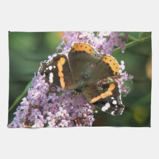 Red Admiral Butterfly and Buddleia Kitchen Towel