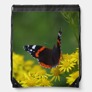 Red Admiral Butterfly Drawstring Backpack