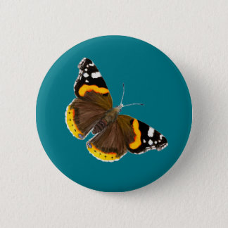 Red Admiral Butterfly Watercolor Artwork 6 Cm Round Badge