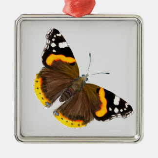 Red Admiral Butterfly Watercolor Painting Artwork Metal Ornament
