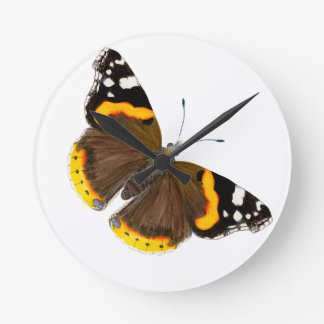 Red Admiral Butterfly Watercolor Painting Artwork Round Clock