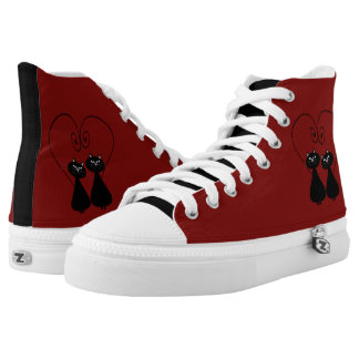 Red adorable fancy cats in love high tops