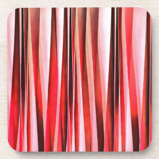 Red Adventure Striped Abstract Pattern Coaster