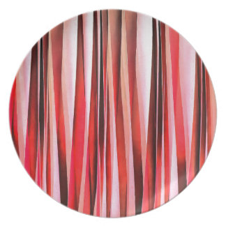 Red Adventure Striped Abstract Pattern Plate