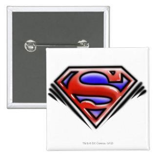 Red Airbrush Superman Logo 15 Cm Square Badge