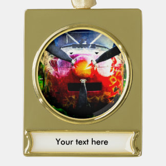 Red Aircraft - Small But Fierce Gold Plated Banner Ornament