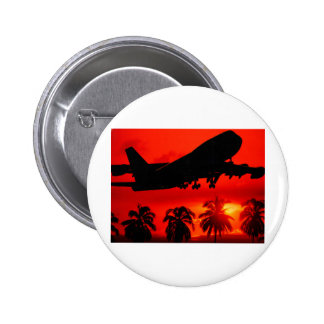 Red Airline Sunset 6 Cm Round Badge