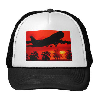 Red Airline Sunset Trucker Hat