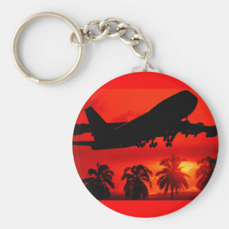 Red Airline Sunset Basic Round Button Key Ring