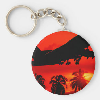 Red Airline Sunset Key Chain