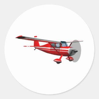 Red Airplane Classic Round Sticker