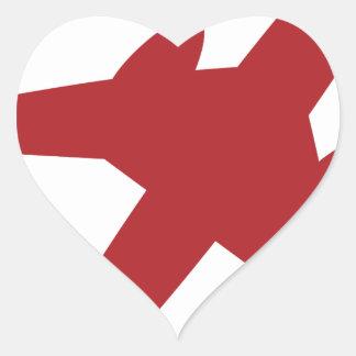 Red Airplane Icon Heart Sticker