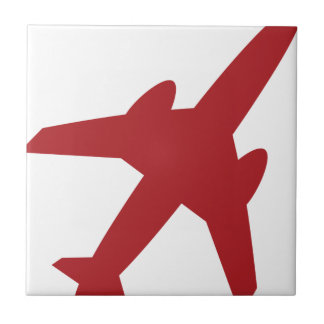 Red Airplane Icon Tile