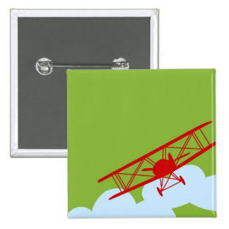 Red airplane on plain lime green pin