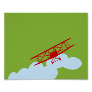 Red airplane on plain lime green poster