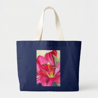 Red Alert Lily watercolor art flower painting Large Tote Bag