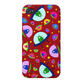 Red alien spaceship pattern iPhone 4/4S cover