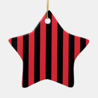 Red Alizarin Crimson and Black Stripes Ceramic Star Decoration