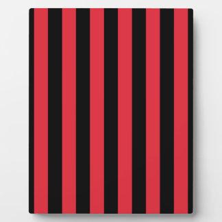 Red Alizarin Crimson and Black Stripes Photo Plaque