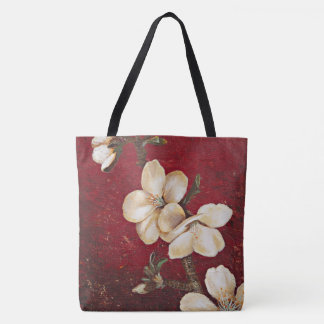 Red Almond Blossom Tote Bag