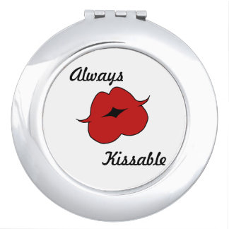 "Red ""Always Kissable"" Lips Mirror Makeup Mirror"