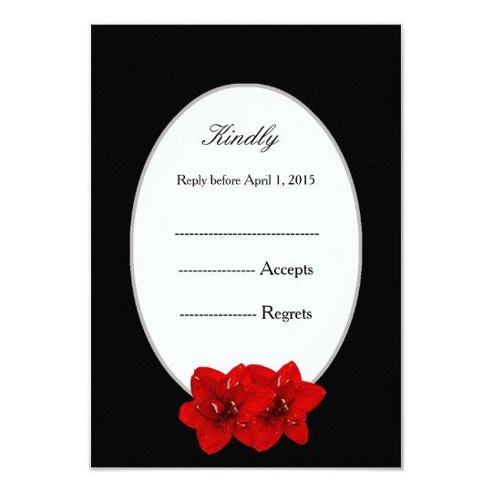 Red Amaryllis and black wedding response card