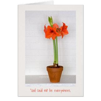 Red Amaryllis Easter Greeting Card - jjhelene