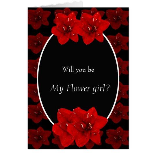 Red Amaryllis flower wedding floral girl Card
