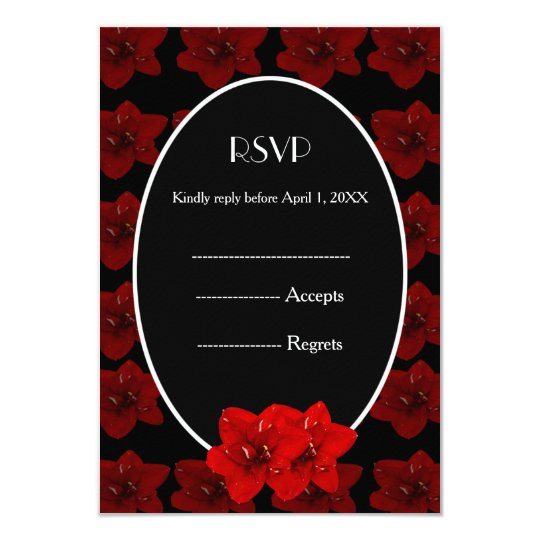 Red Amaryllis gold wedding RSVP Card