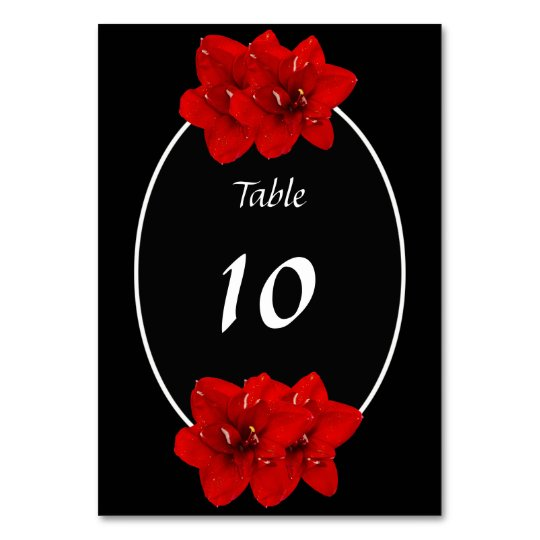 Red Amaryllis wedding table seat Card