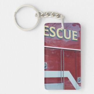 Red Ambulance Closeup Single-Sided Rectangular Acrylic Key Ring