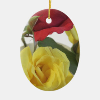 Red amd Yellow Roses Ceramic Oval Decoration